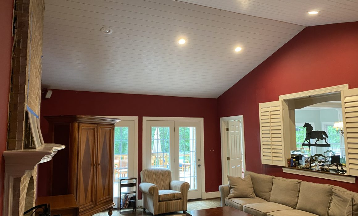Dimension and Texture: Installing a Beadboard Pane Ceiling